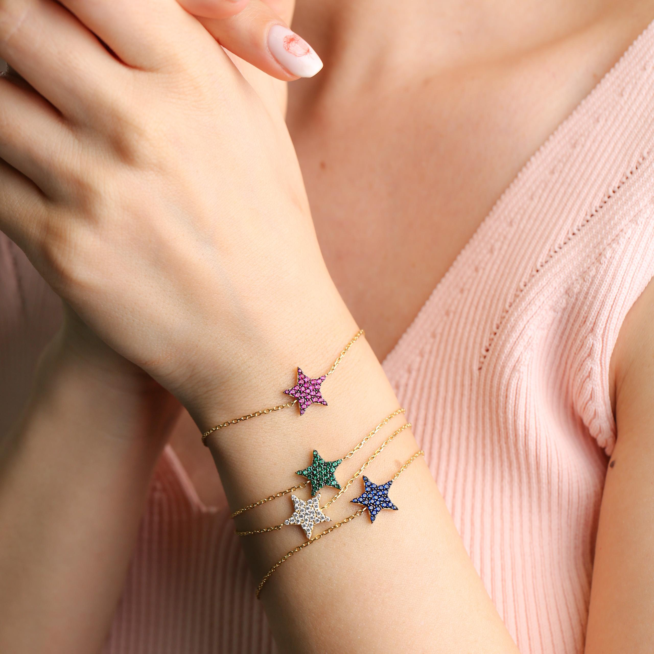 Colorful Star Charm Bracelet Wholesale Turkish 925 Sterling Silver Jewelry