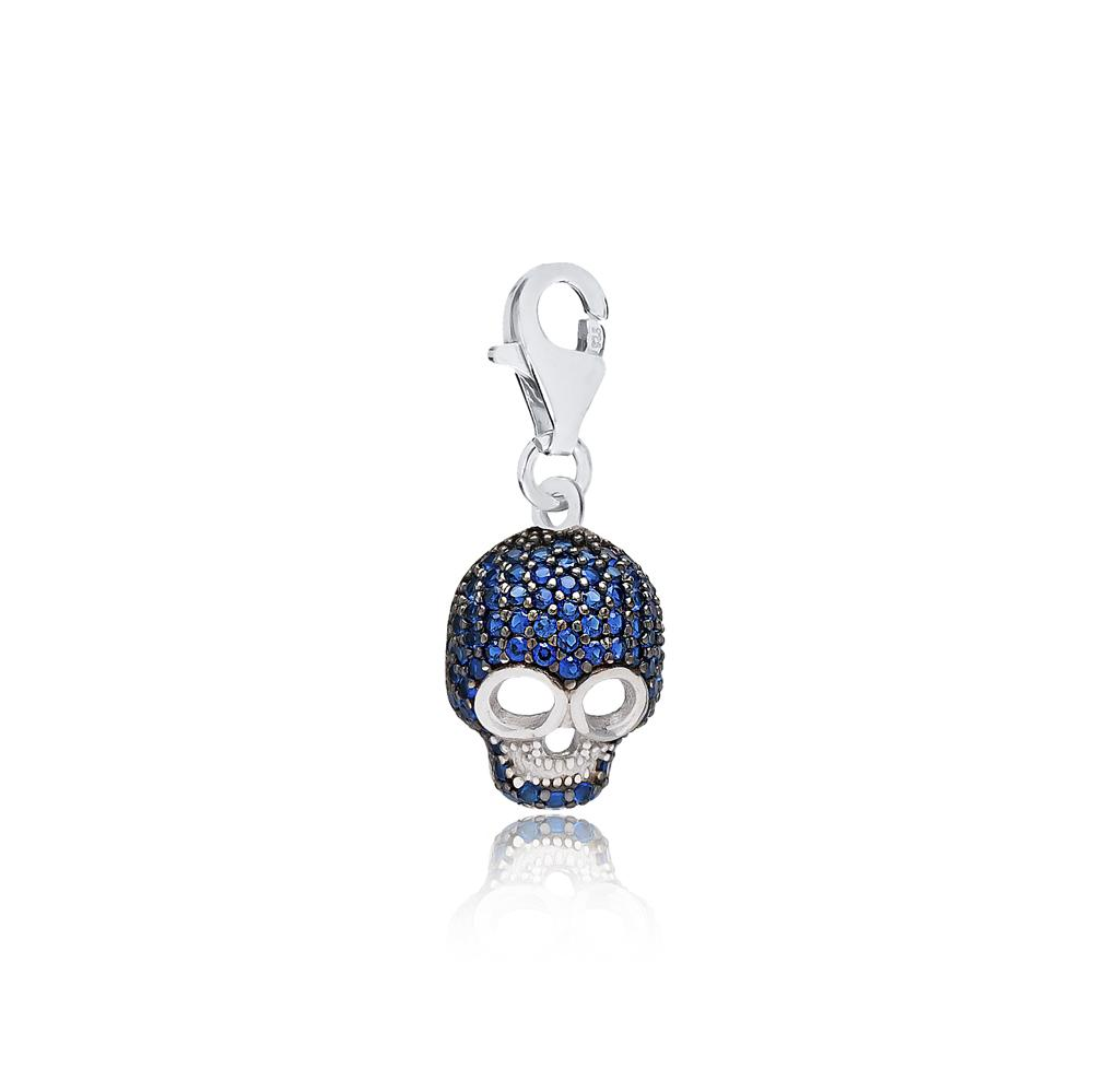 Skull With Sapphire Stone Design Charm Wholesale Handmade Turkish 925 Silver Sterling Jewelry
