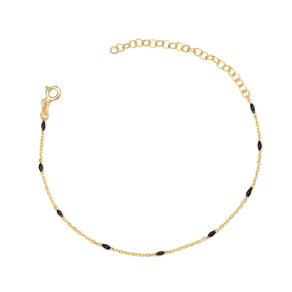 Black Enamel Chain Anklet Turkish Wholesale Handcrafted 925 Sterling Silver Jewelry