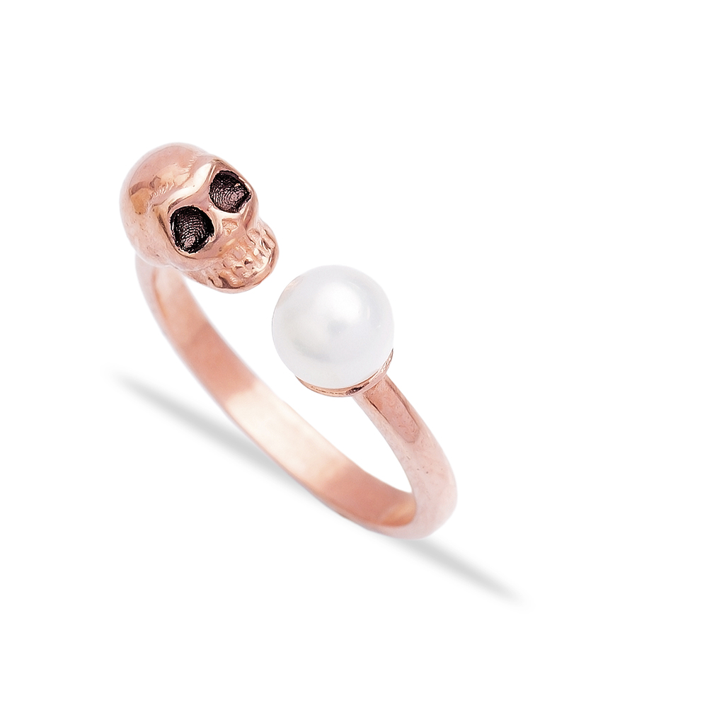 Trendy Turkish Wholesale Handcrafted Silver Skull Design Pearl Ring