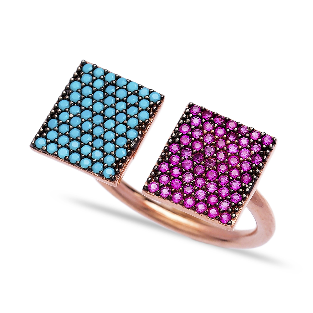 Wholesale Handcrafted 925K Adjustable Sterling Silver Square Shape Ring