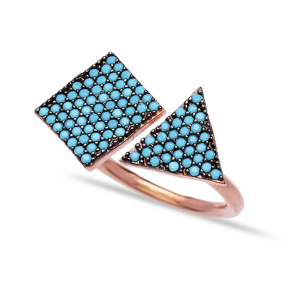Wholesale Handcrafted 925K Adjustable Sterling Silver Turquoise Square And Triangle Ring