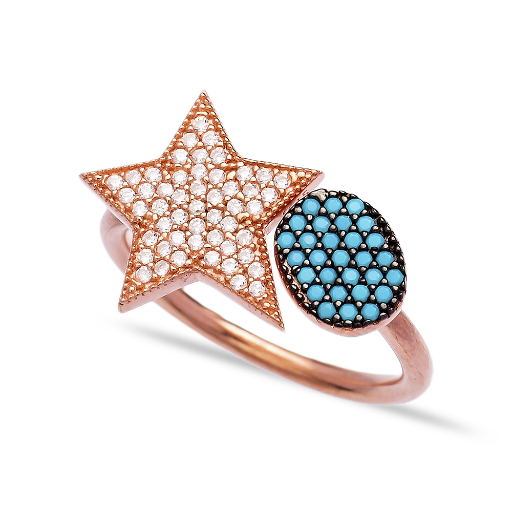Star Turquoise Zircon Wholesale Handcrafted 925K Adjustable Sterling Silver Ring