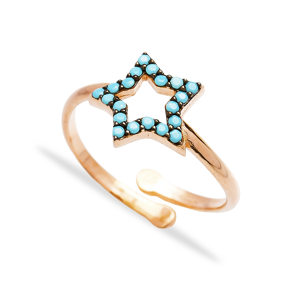 Turquoise Star Design Ring Wholesale Handmade 925 Sterling Silver