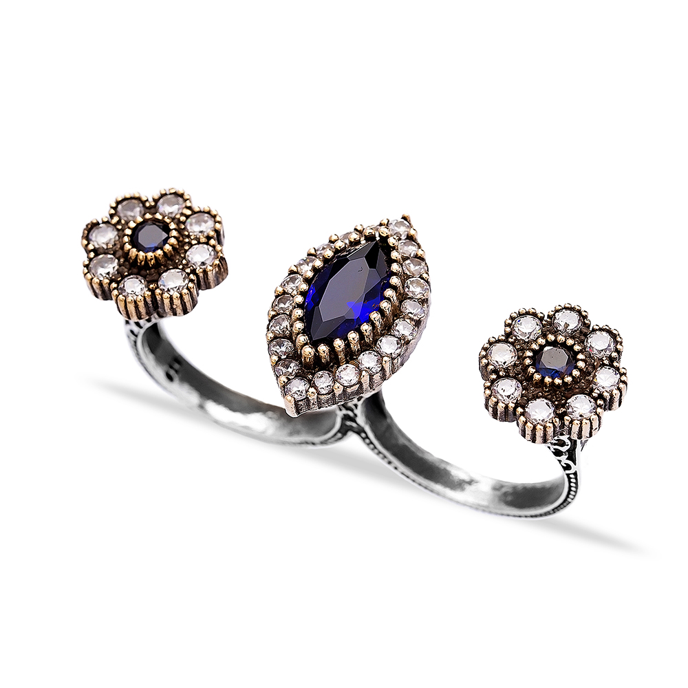 Ottoman Desing Wholesale Handcrafted Authentic Silver Double Finger Ring