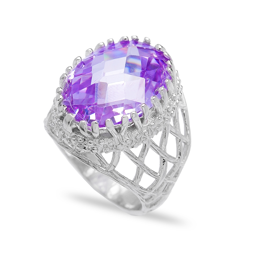 Wholesale Handmade 925  Sterling Silver Amethyst Ring