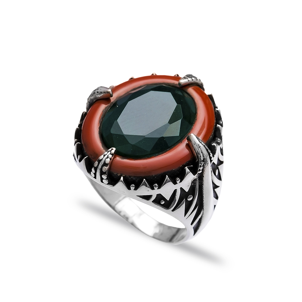 Emerald Authentic Men Ring Wholesale Handmade 925 Sterling Silver
