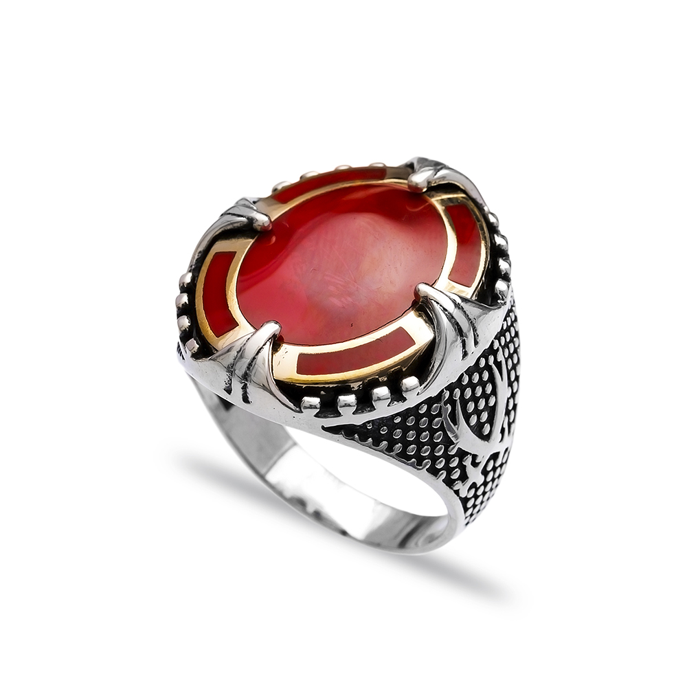 Red Agate Authentic Men Ring Wholesale Handmade 925 Sterling Silver