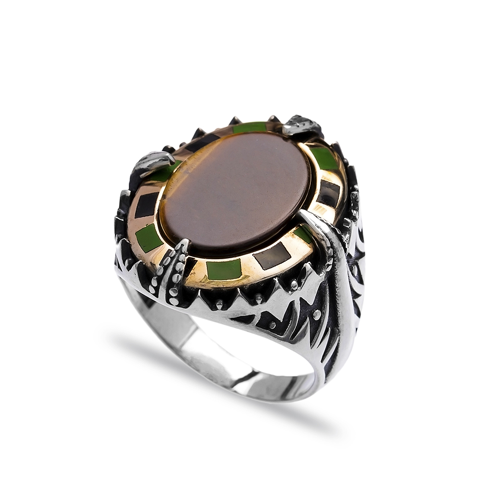 Agate Authentic Men Ring Wholesale Handmade 925 Sterling Silver