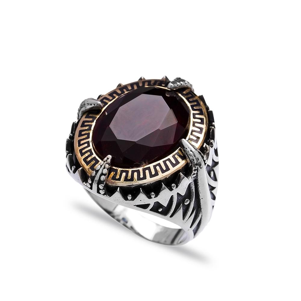 Garnet Authentic Men Ring Wholesale Handmade 925 Sterling Silver