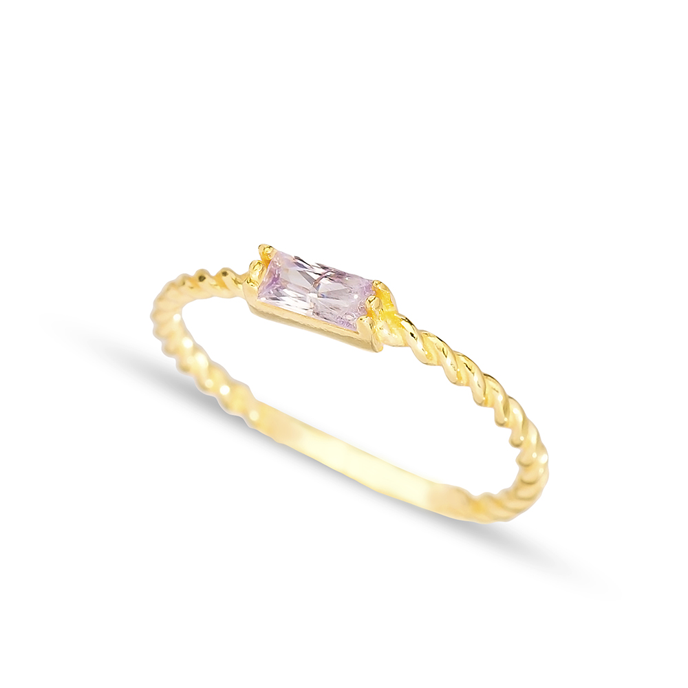 Baguette Pink Zircon Cut Stone Band Ring Handmade Turkish 925 Sterling Silver Jewelry