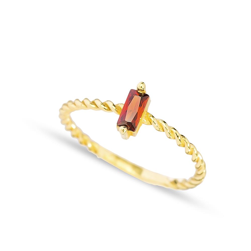 Elegant Design Garnet Stone Band Ring Handmade Turkish 925 Sterling Silver Jewelry