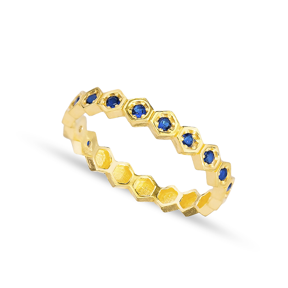 Unique Design Sapphire Stone Band Ring Handmade Turkish 925 Sterling Silver Jewelry
