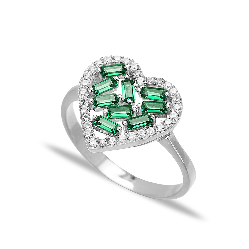 Heart Design Emerald Baguette Turkish Rings Wholesale Handmade 925 Sterling Silver Jewelry
