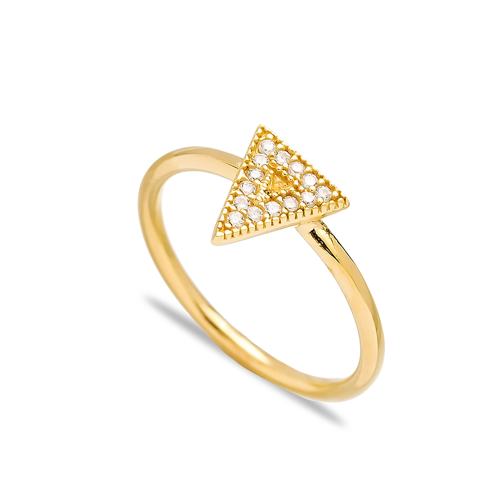 Triangle Shape Zircon Cluster Ring Wholesale Turkish 925 Sterling Silver Animal Jewelry