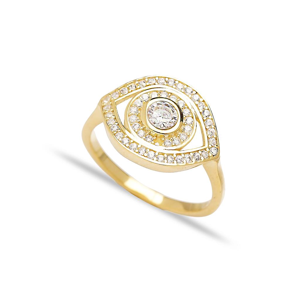 Elegant Eye Shape Zircon Ring Turkish Wholesale Handcrafted 925 Silver Jewelry