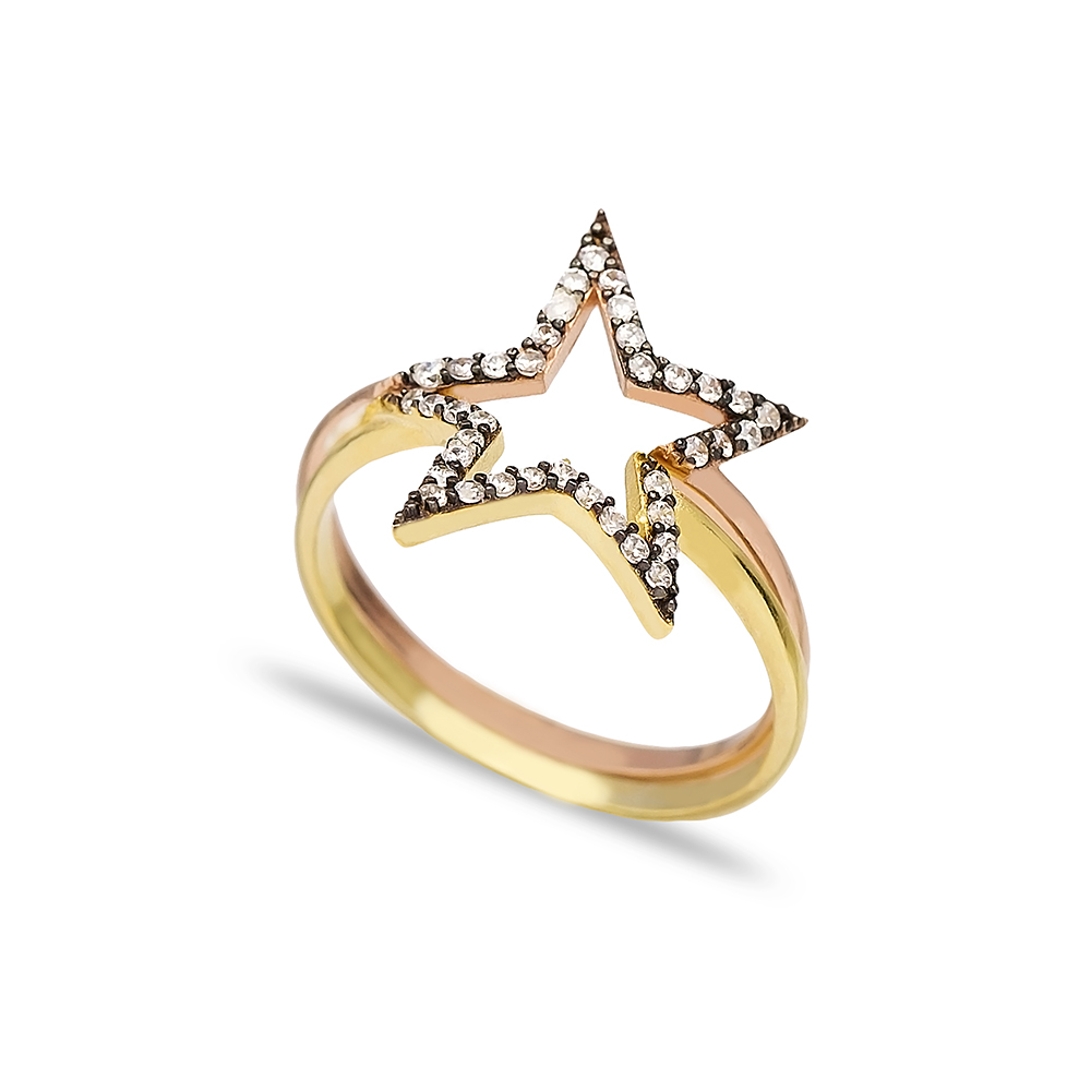 Combinable Binary Ring Zircon Stone Star Design Wholesale Handcrafted 925 Sterling Silver Jewelry