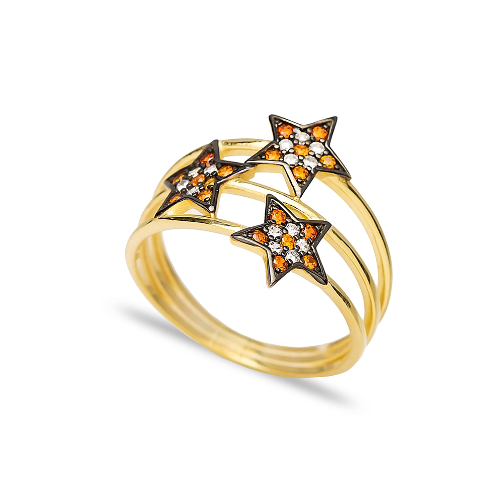 Triple Minimalist Star Charm Orange Quartz Stone Ring Wholesale Handcrafted 925 Sterling Silver Jewelry