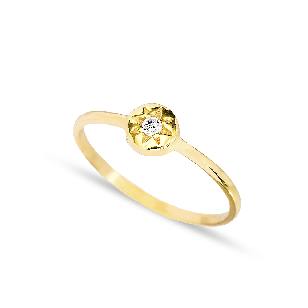 Sun Design Solitaire Cluster Ring Handmade Wholesale 925 Sterling Silver Jewelry