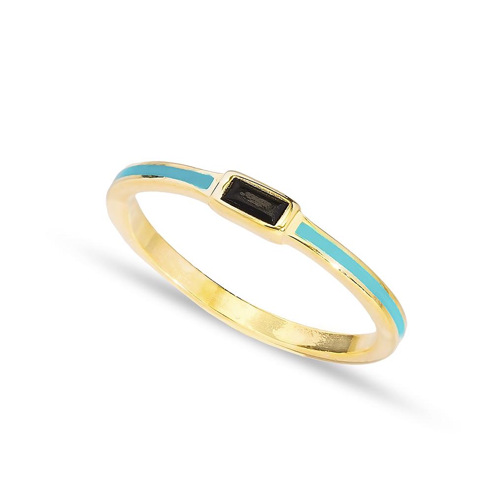 Turquoise Enamel Black Zircon Stone Cluster Ring Handmade Wholesale 925 Sterling Silver Jewelry