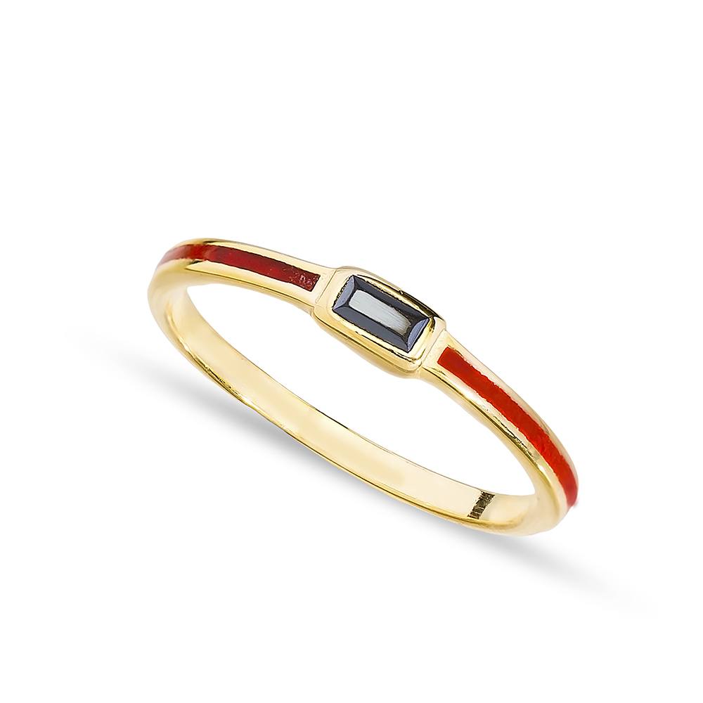 Red Enamel Black Zircon Stone Cluster Ring Handmade Wholesale 925 Sterling Silver Jewelry