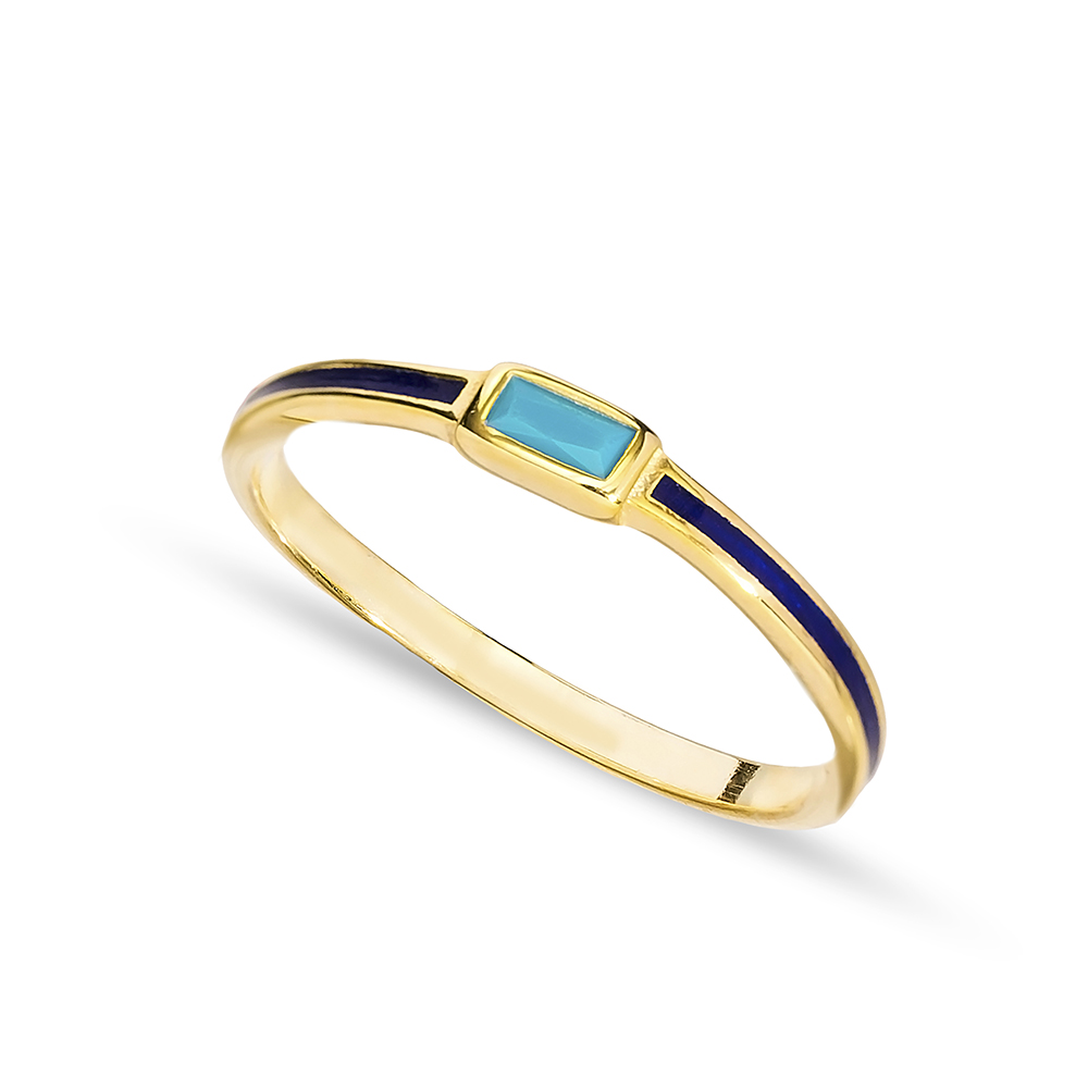 Navy Blue Enamel Turquoise Stone Cluster Ring Handmade Wholesale 925 Sterling Silver Jewelry