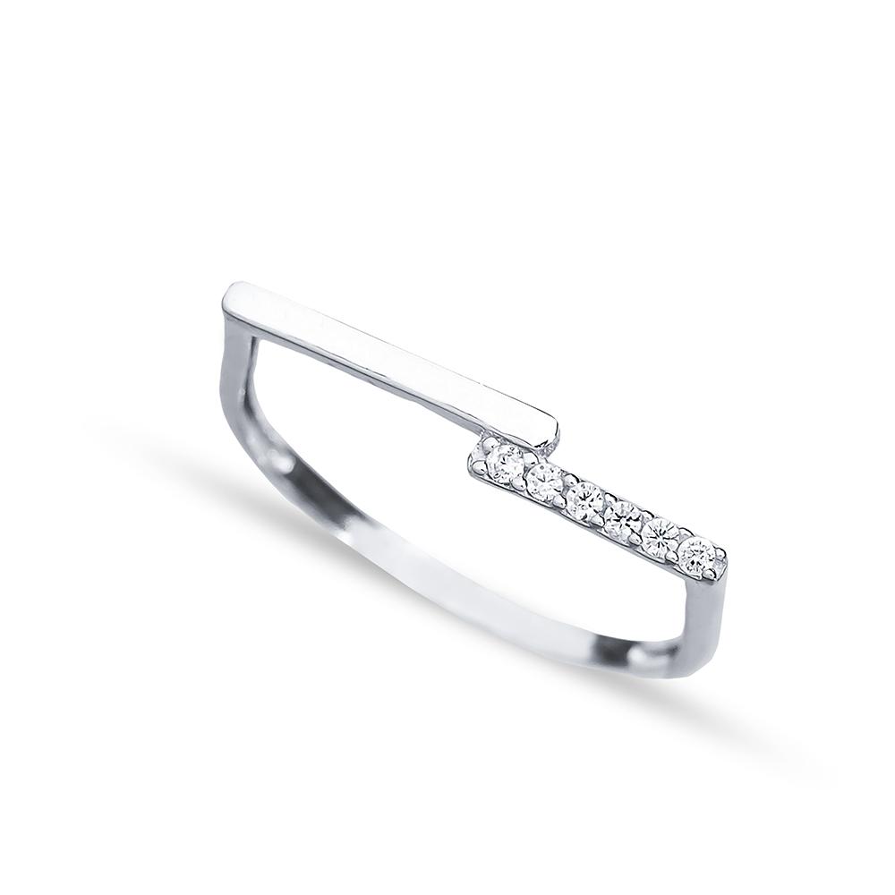 Thin Elegant Design Zircon Stone Cluster Ring Handmade Wholesale 925 Sterling Silver Jewelry