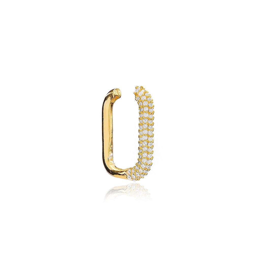Trendy Zircon Cartilage Earrings Wholesale Turkish Handmade 925 Sterling Silver Jewelry