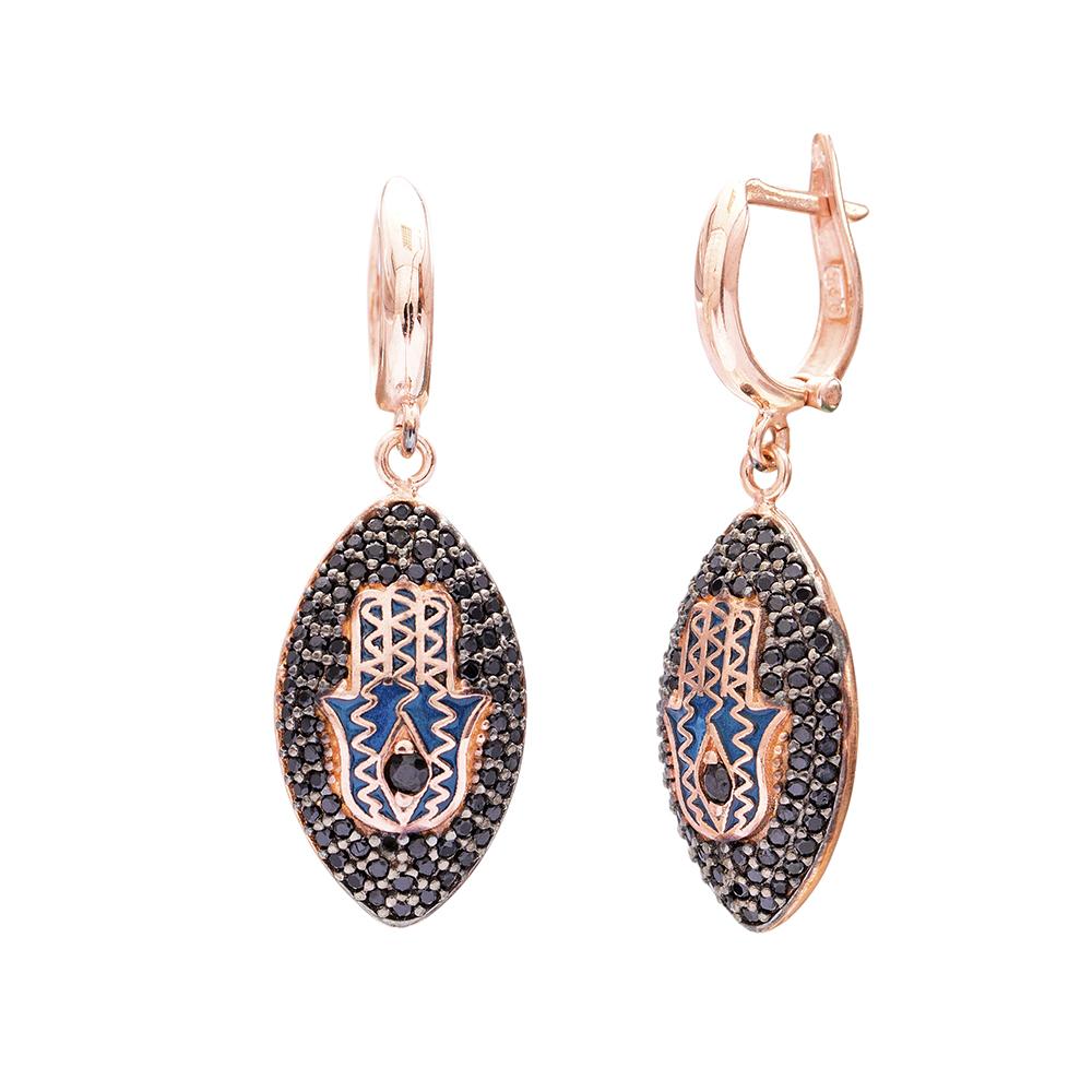 Hamsa Dangle Clip On Earrings Turkish Wholesale Sterling Silver Earring