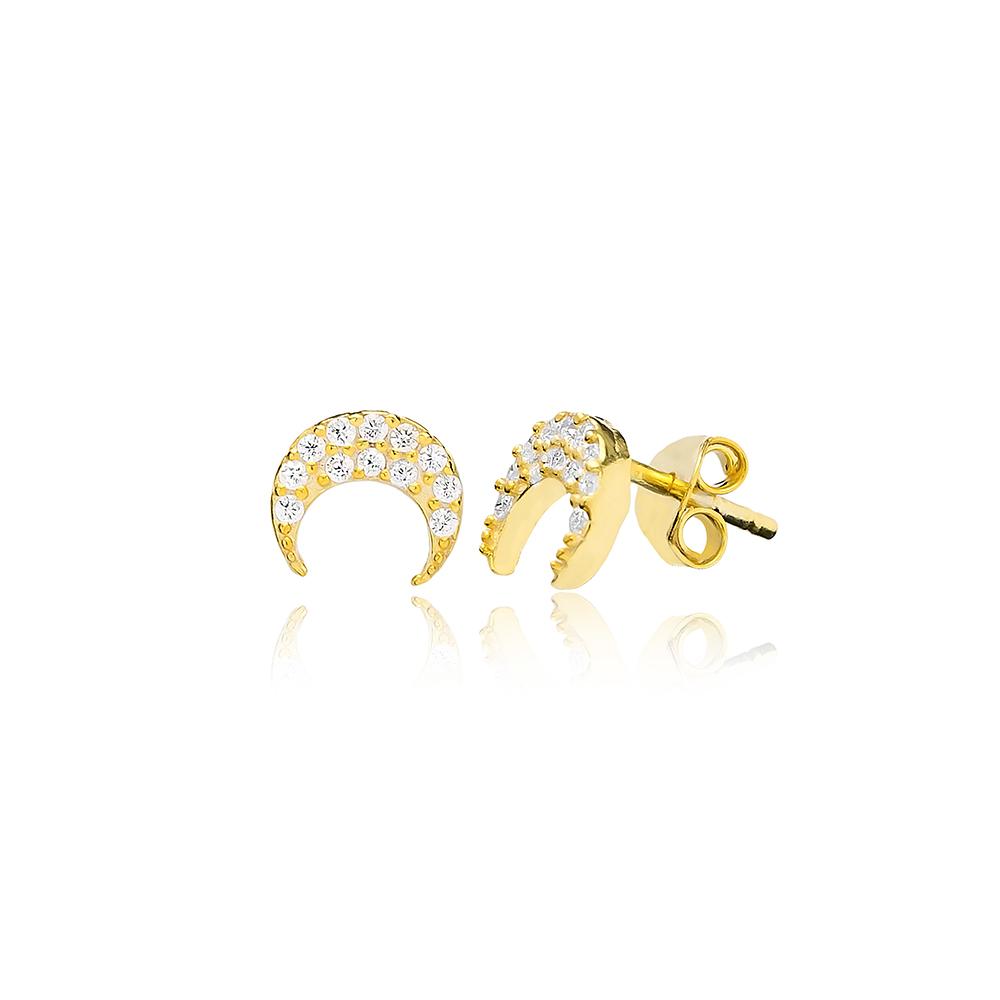 CZ Stone Minimal Moon Silver Earring Wholesale 925 Sterling Silver Jewelry
