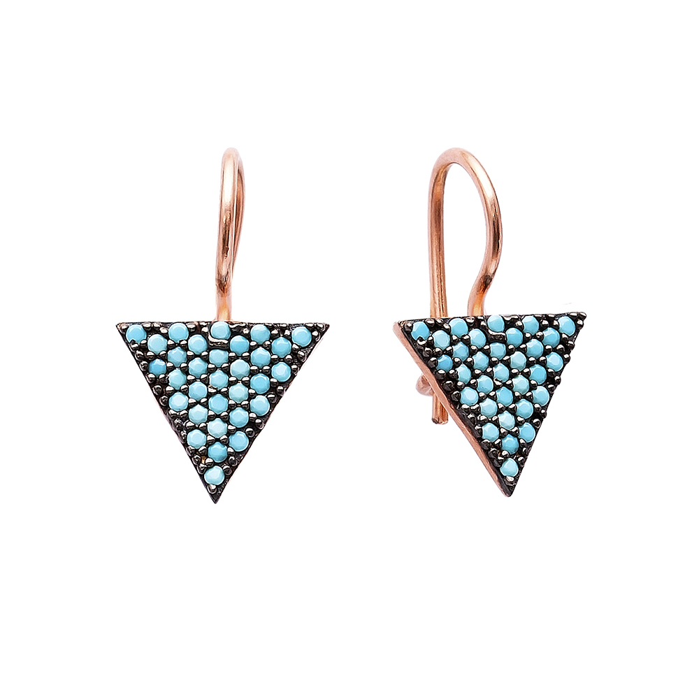 Nano Turquoise Triangle Design Turkish Wholesale Handcrafted Silver Earring