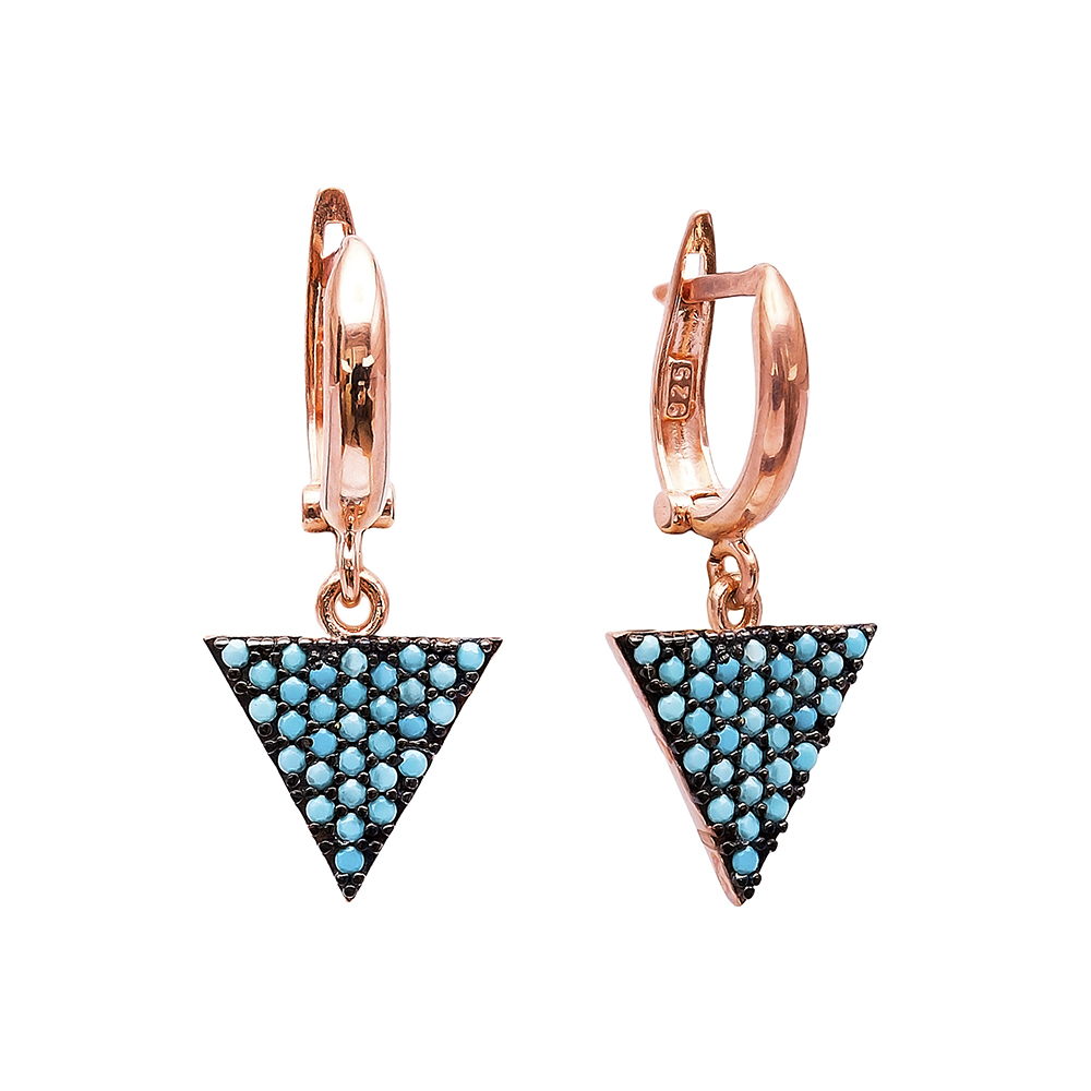 Nano Turquoise Triangle Shape Turkish Wholesale Handcrafted Silver Earring