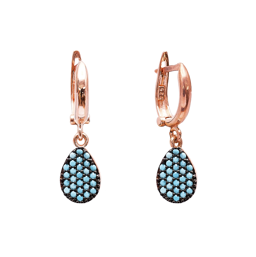 Nano Turquoise Drop Design Turkish Wholesale Handcrafted Silver Earring