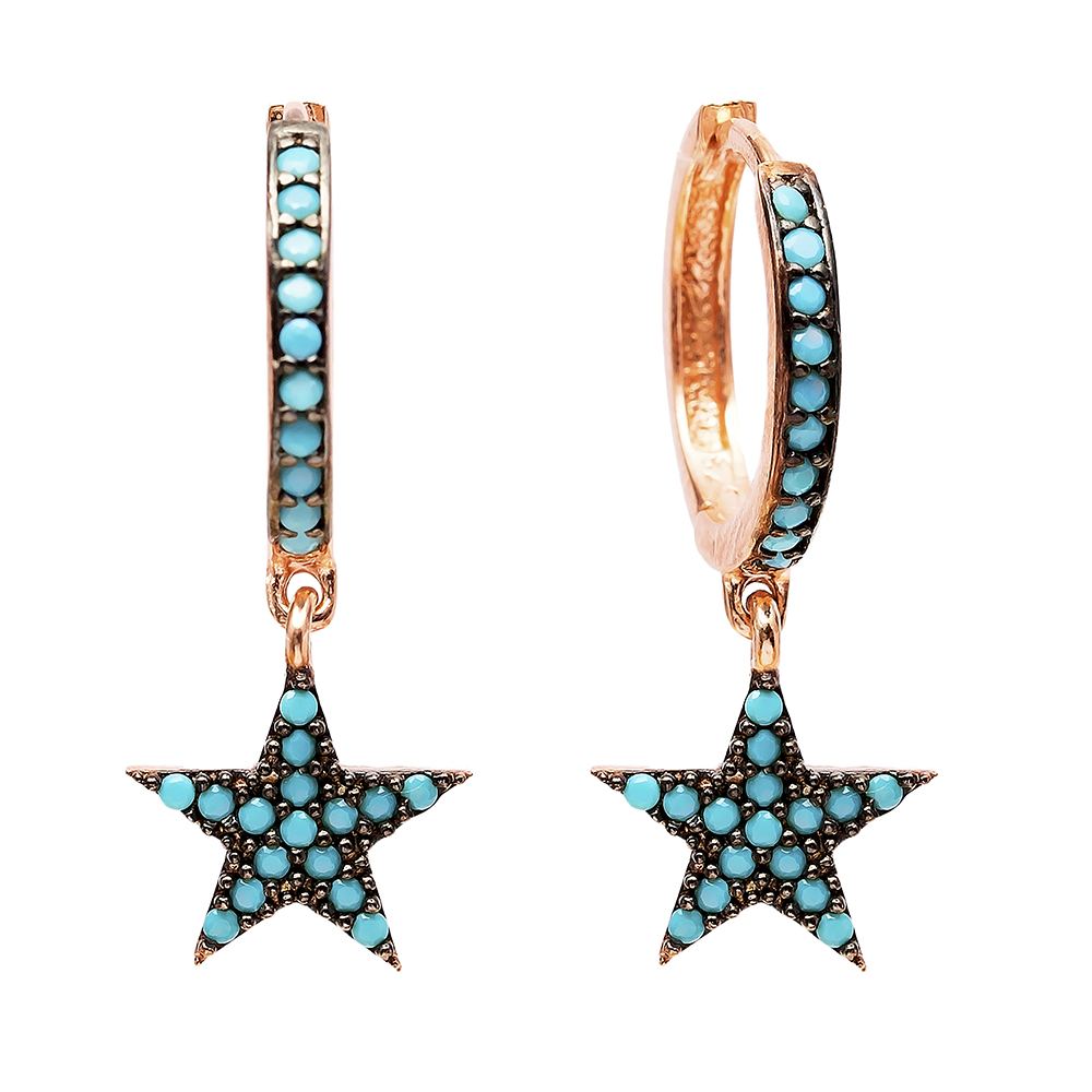 Star Nano Turquoise Dangle  Earrings Turkish Wholesale Handmade Sterling Silver Earring
