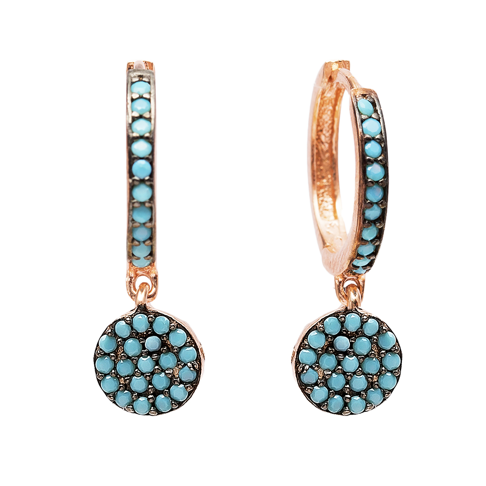 Round Nano Turquoise Dangle  Earrings Turkish Wholesale Handmade Sterling Silver Earring