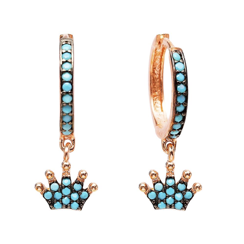Crown Nano Turquoise Dangle Earrings Turkish Wholesale Handmade Sterling Silver Earring
