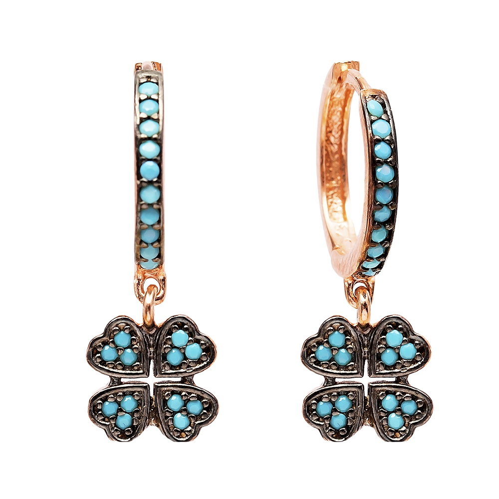 Dangle Clover Earrings Turkish Wholesale Handmade Sterling Silver Earring