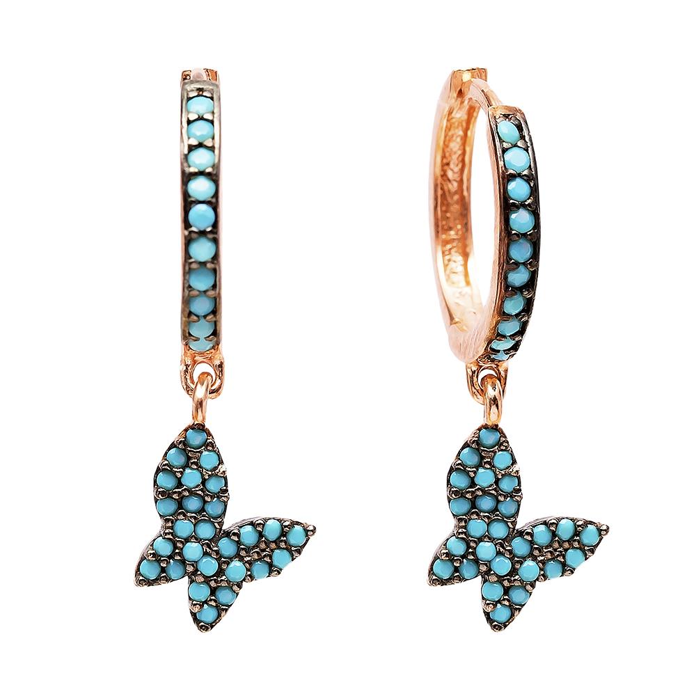 Dangle Butterfly Earrings Turkish Wholesale Handmade Sterling Silver Earring
