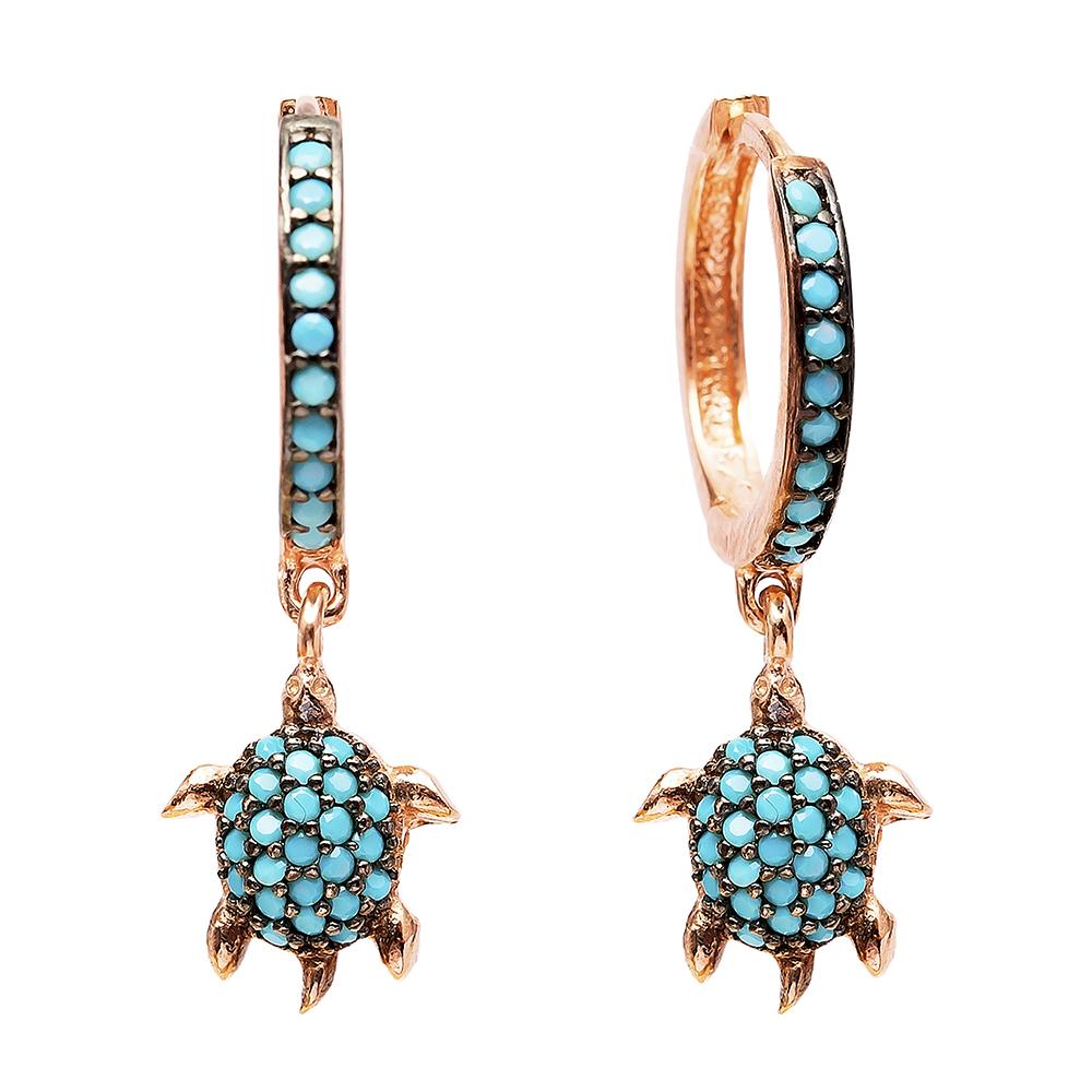 Turtle Dangle  Earrings Turkish Wholesale Handmade Sterling Silver Earring
