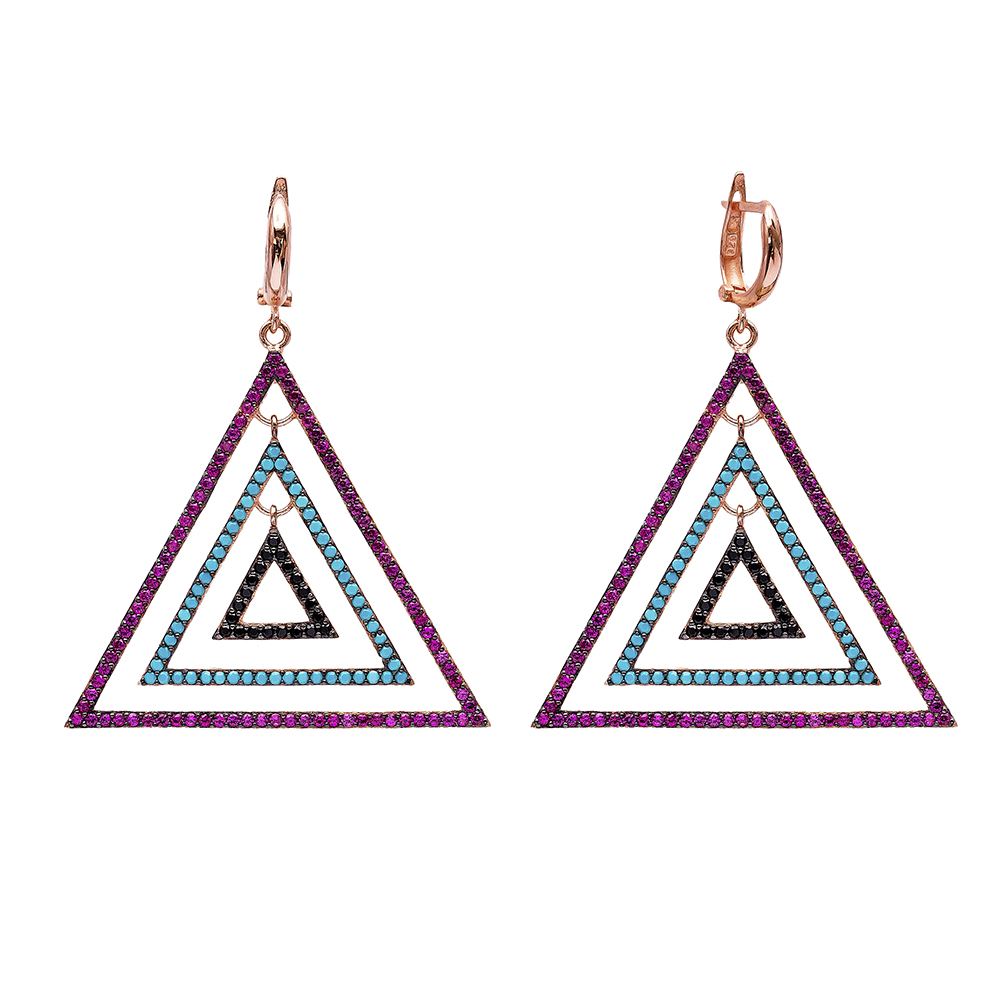 Triangle Dangle Earrings Turkish Wholesale Handmade Sterling Silver Earring