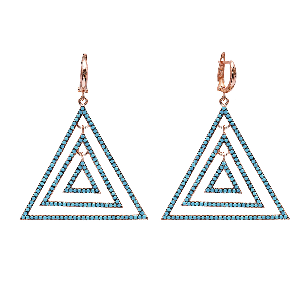 Dangle Triangle Earrings Turkish Wholesale Handmade Sterling Silver Earring
