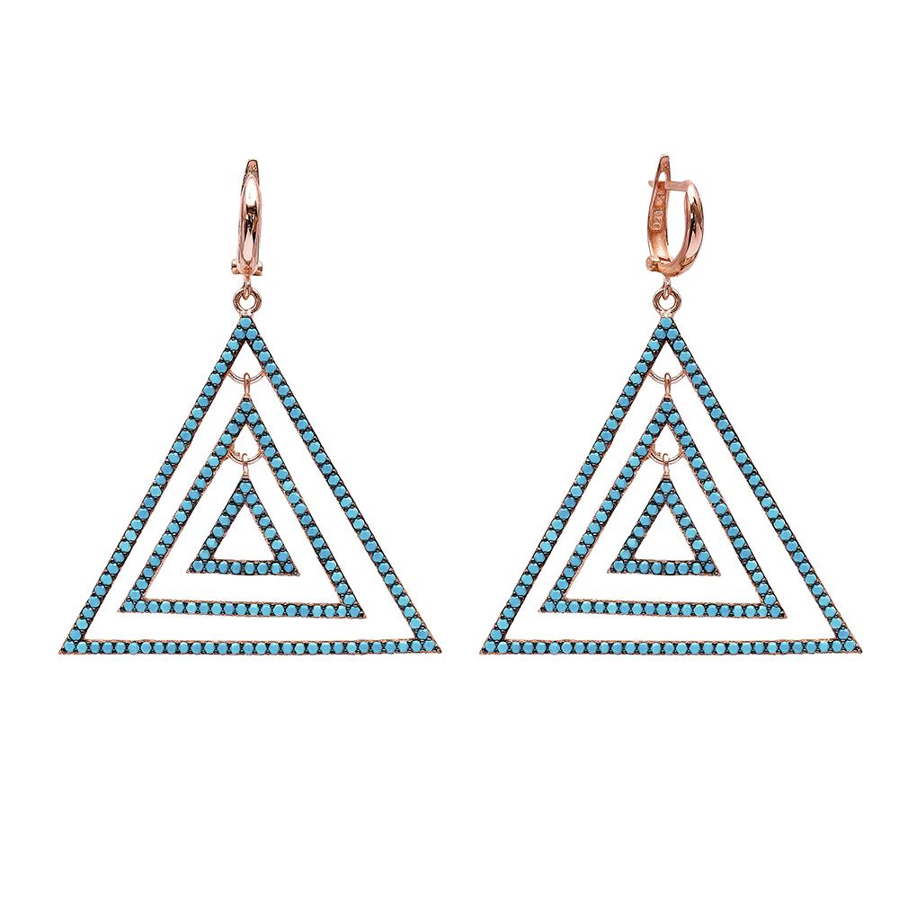 Dangle Triangle Earrings Turkish Wholesale Handmade Sterling Silver Earring