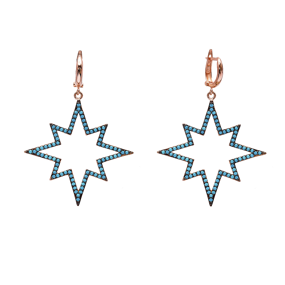 Star Dangle Earrings Turkish Wholesale Handmade Sterling Silver Earring