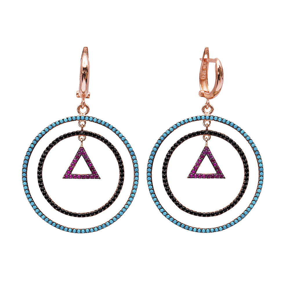 Triangle Shape Turkish Wholesale Handcrafted Silver Round Dangle Earring