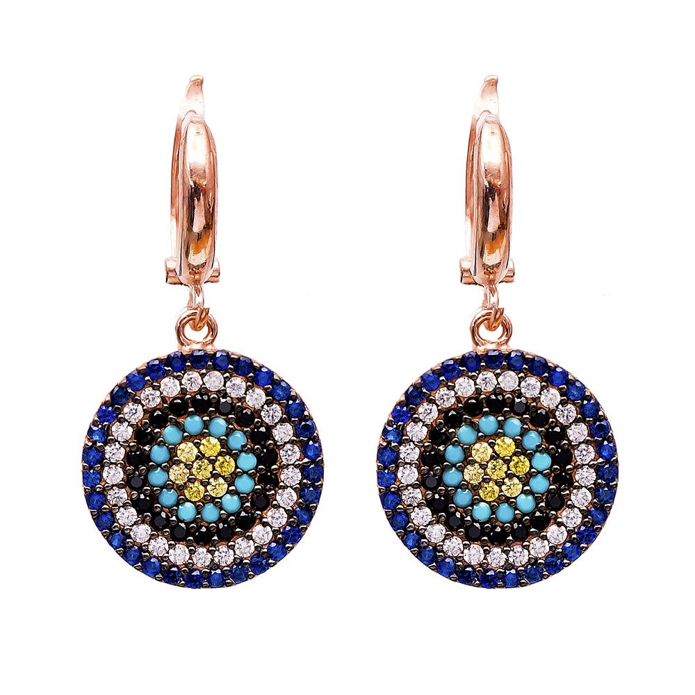 Dangle Clip On Earrings Evil Eye Turkish Wholesale Sterling Silver Earring