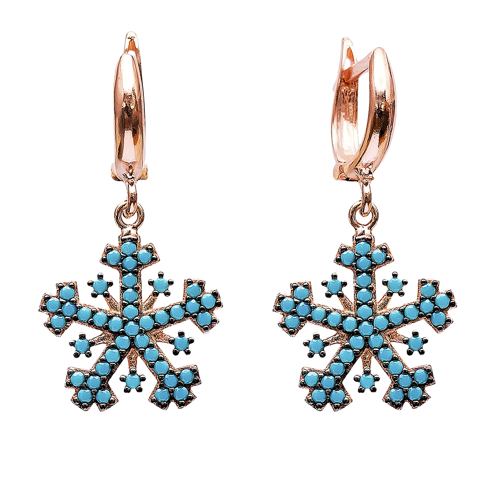 Dangle  Snowflake Design Earrings Turkish Wholesale Handmade Sterling Silver Earring