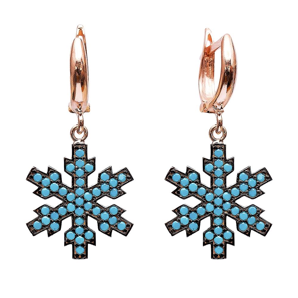 Dangle Snowflake Design Earrings Turkish Wholesale Handmade Sterling Silver Earring