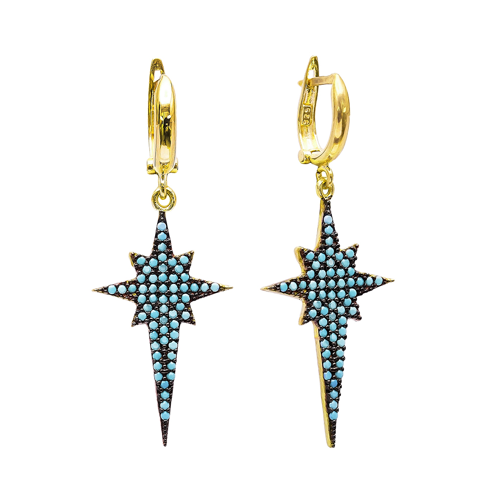 Dangle Clip On Pole Star Earrings Turkish Wholesale Sterling Silver Earring