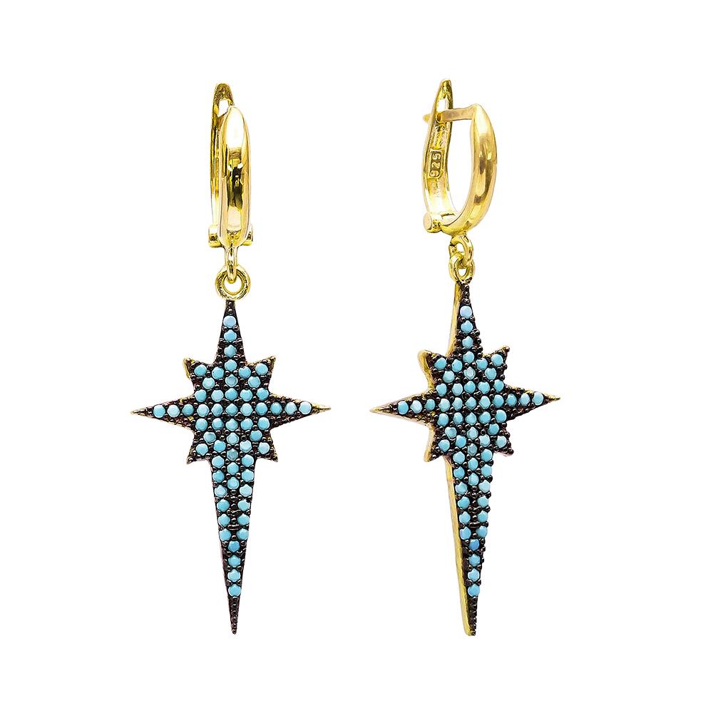 Dangle Clip On Pole Star Earrings Turkish Wholesale Sterling Silver Earring