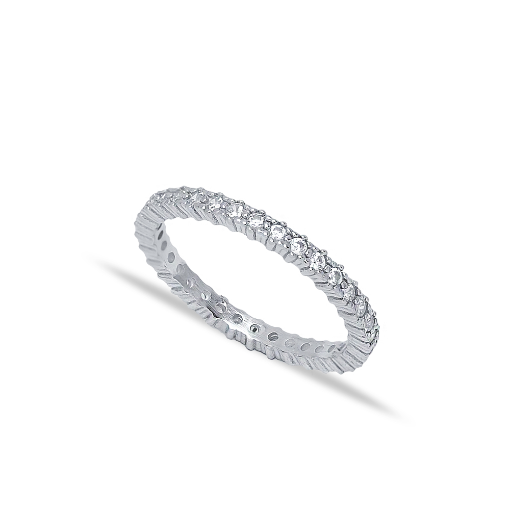 Minimalist Dainty Micro Pave Zircon Band Ring Wholesale Handcrafted Silver Jewelry